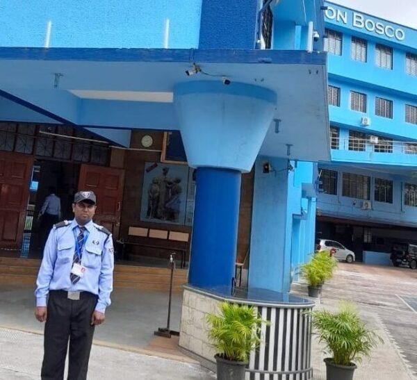 Security Guard guarding the school in Mumbai