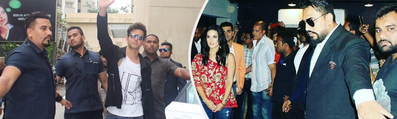 Hrithik Roshan with Bodyguards & Sunny Leone Bodyguard
