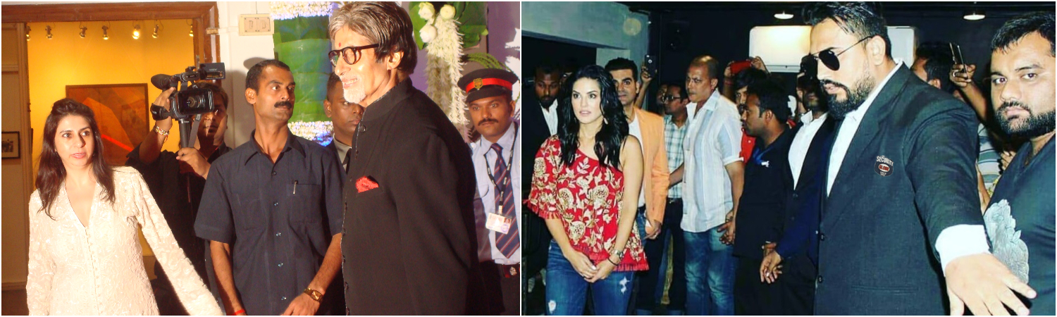 Amitabh Bachchan with his bodyguard and Sunny Leone with his bodyguard