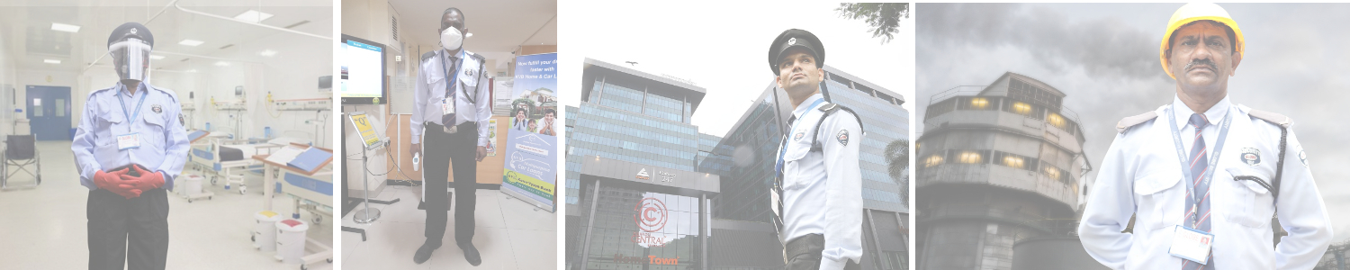 Security Guards at work in hospital, bank, building and factory